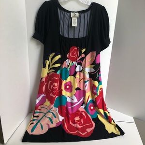 ICE Black and Floral Short Sleeve Dress